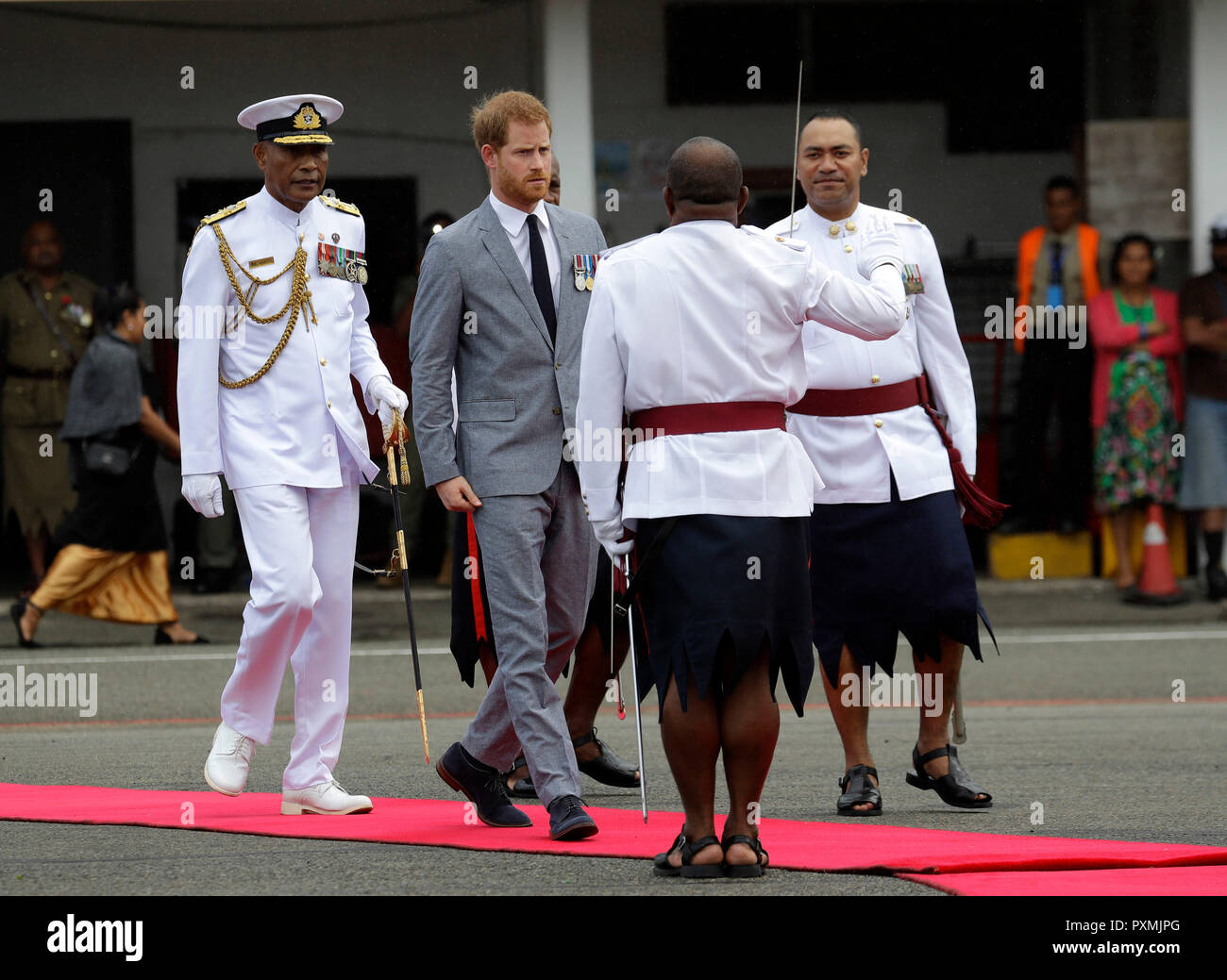 The Duke of Sussex is welcomed in Suva, Fiji, during the