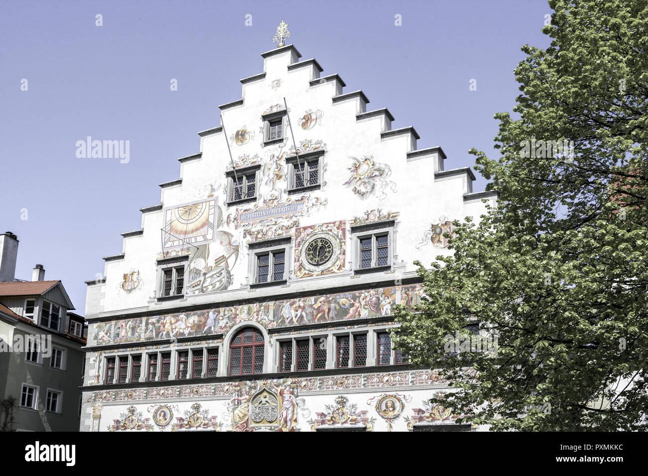Deutschland, Bodensee, Europa, Oberschwaebische Barockstrasse, Stadt, Sehenswuerdigkeit, Tourismus, Lindau, Altes Rathaus, Detail, Reichsplatz, Giebel - Stock Image