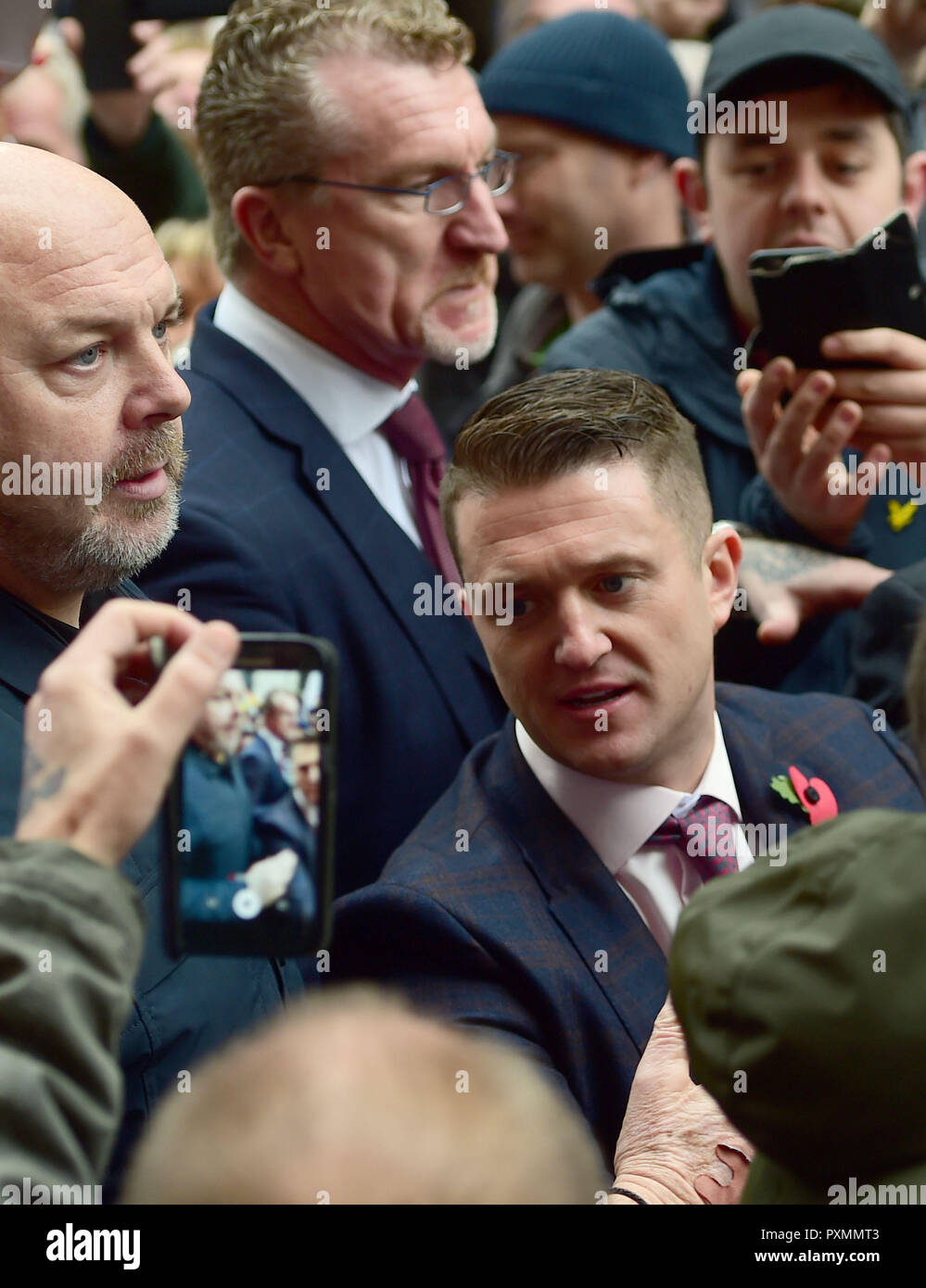 Former English Defence League (EDL) leader Tommy Robinson arrives at the Old Bailey where he is accused of contempt of court. - Stock Image