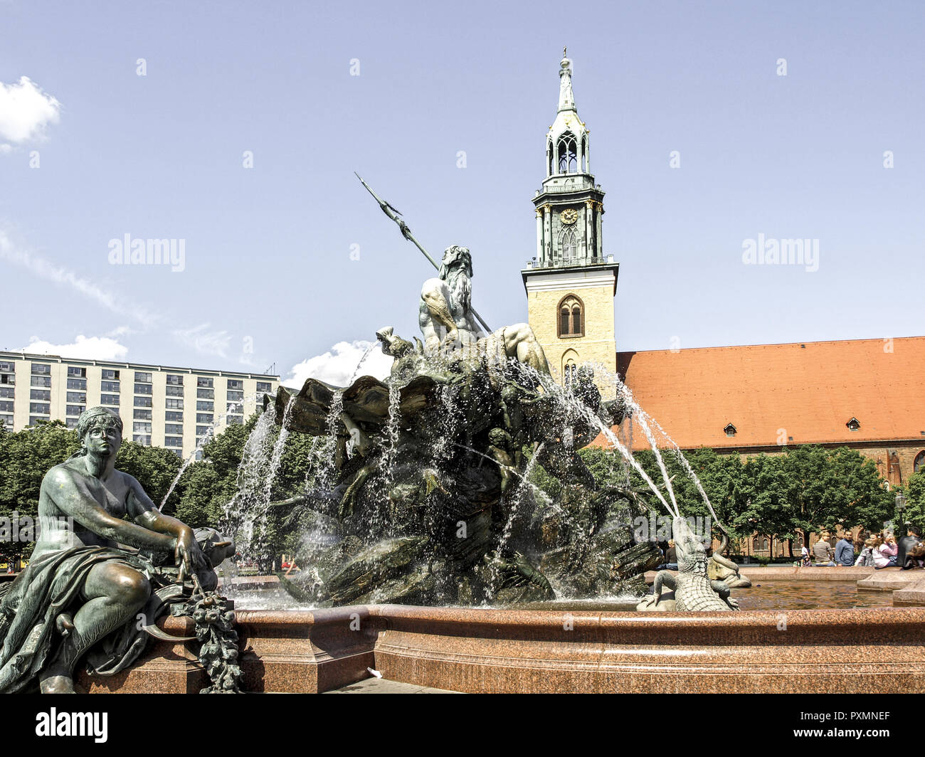 Deutschland, Berlin, Europa, Hauptstadt, Stadt, Sehenswuerdigkeit, Alexanderplatz, Neptunbrunnen, Detail, Grossstadt, Berlin-Mitte, Brunnen, Brunnenfi - Stock Image
