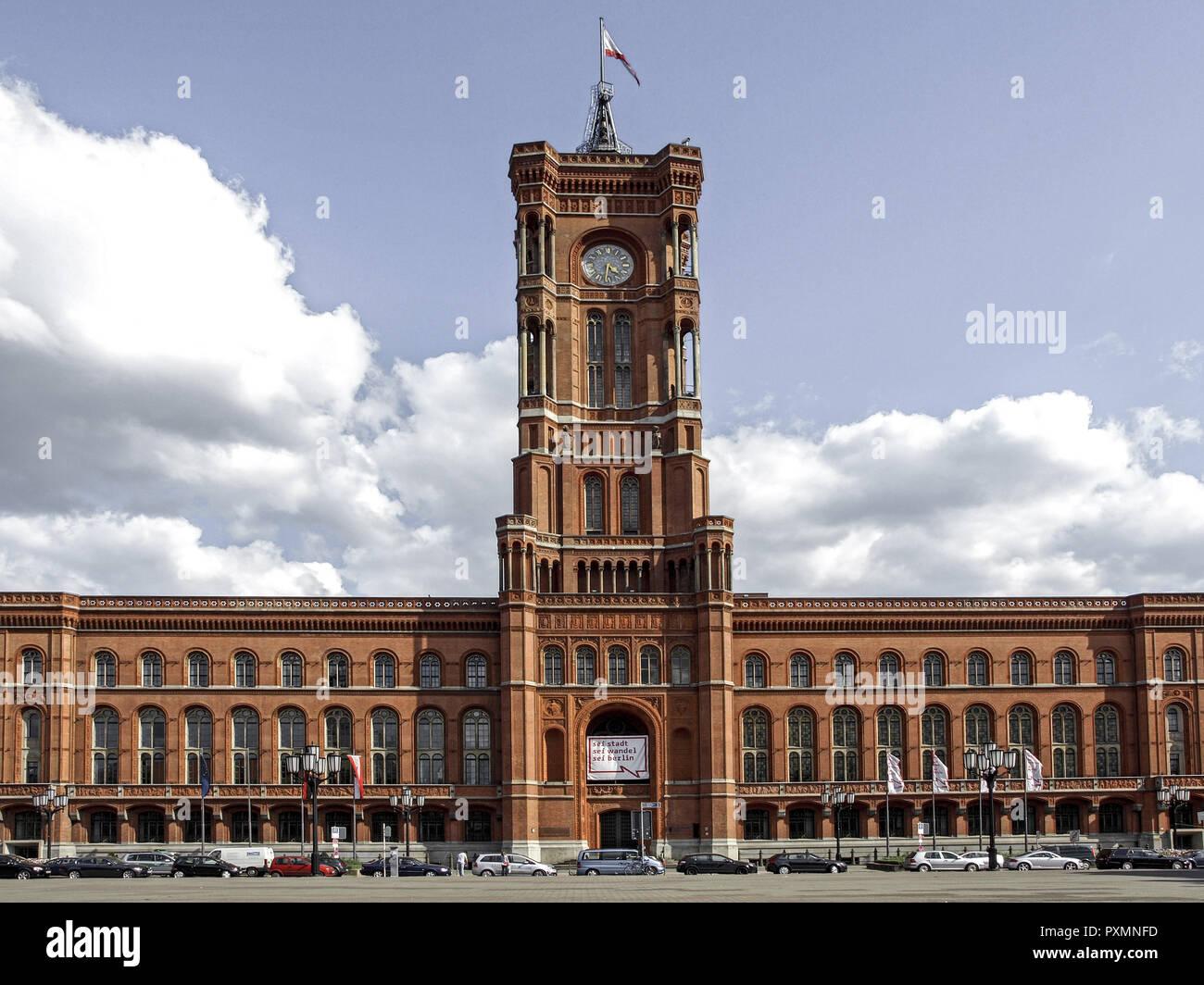 Deutschland, Berlin, Europa, Hauptstadt, Stadt, Sehenswuerdigkeit, das rote Rathaus, Architektur, Bauwerk, Bundeshauptstadt, Fernsehturm, Gebaeude, Mi - Stock Image