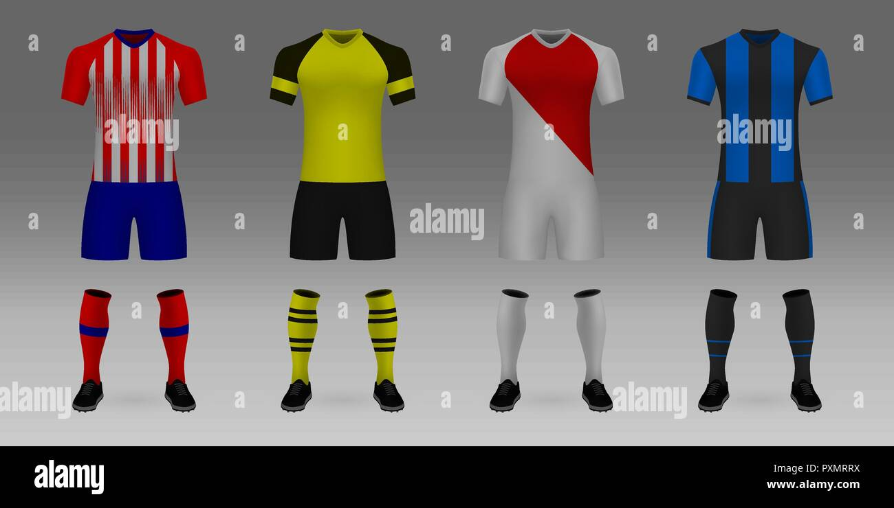 Set of 3D realistic template soccer jersey Atletico