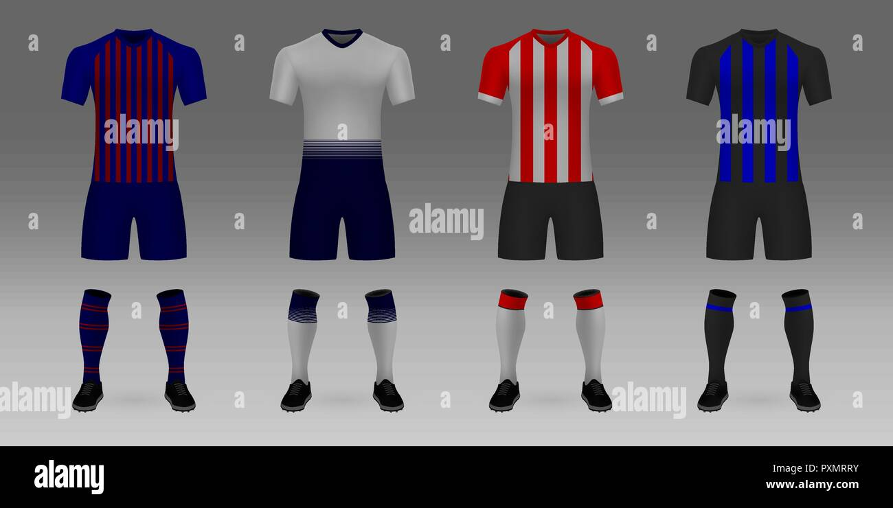 Set of 3D realistic template soccer jersey Barcelona, Tottenham, PSV, Inter. t-shirt with pants and socks on shop backdrop. Mockup of football team un - Stock Image
