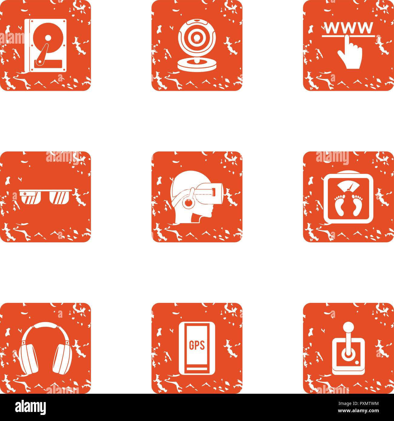 Virtu icons set, grunge style - Stock Image
