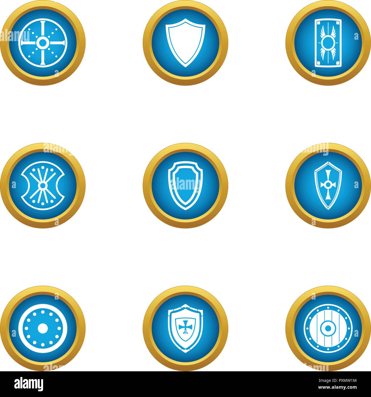 Protection buckler icons set, flat style Stock Vector