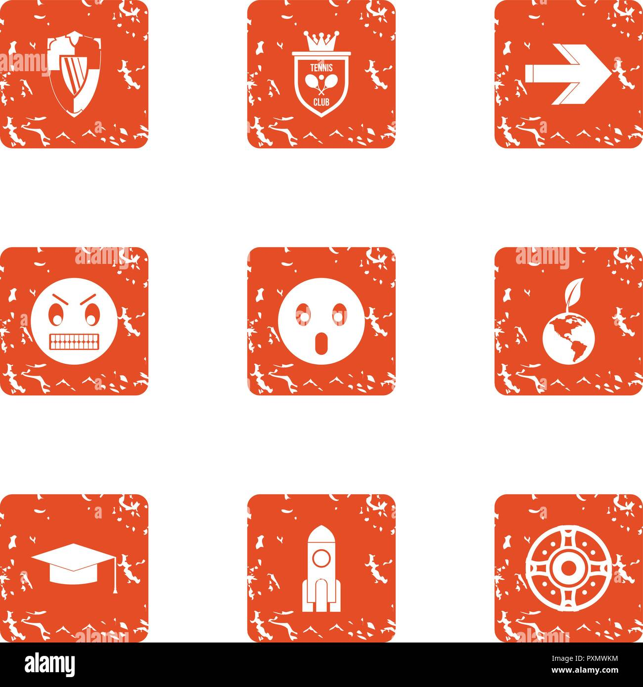 Inoffensive icons set, grunge style - Stock Image