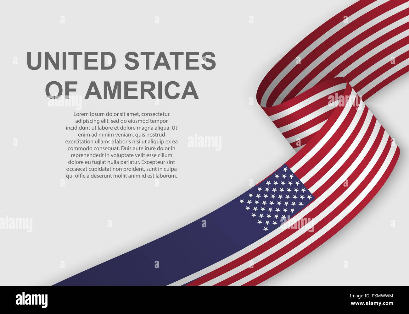 waving flag of United States. Template for independence day. vector illustration Stock Vector