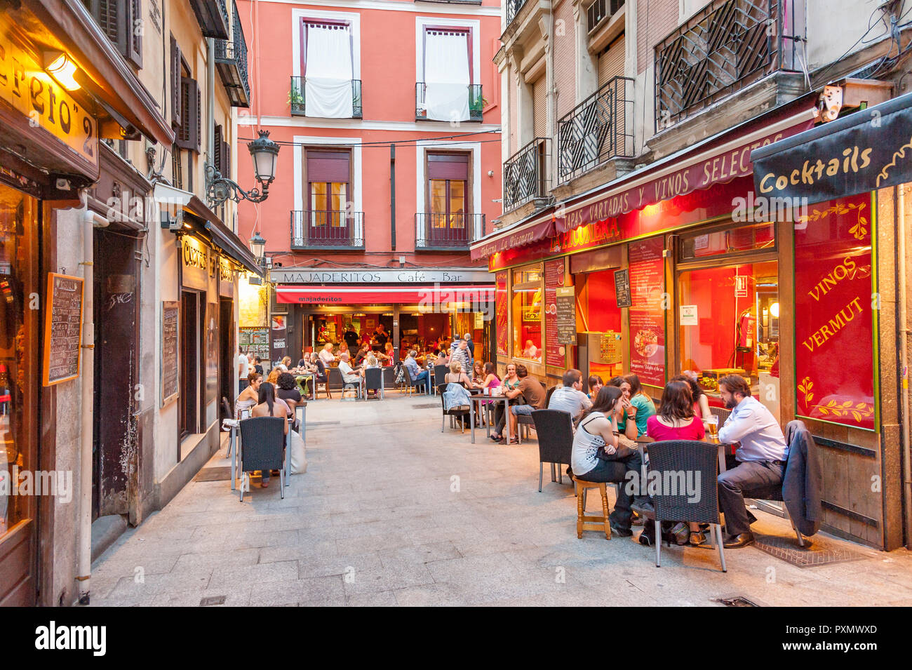 Bars and restaurants in Calle Barcelona, Madrid, Spain - Stock Image