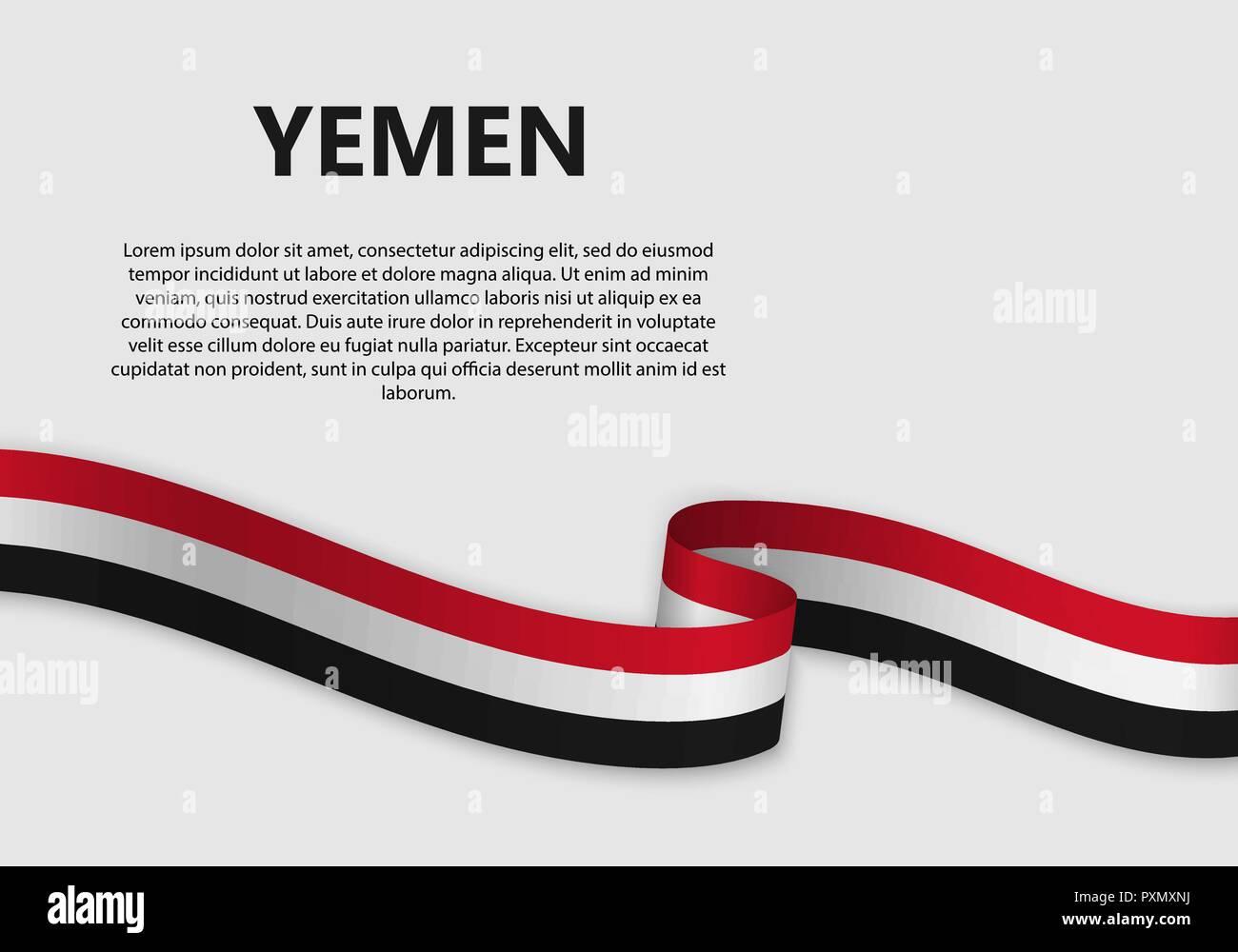 Waving Flag of Yemen, vector illustration with copyspace - Stock Vector