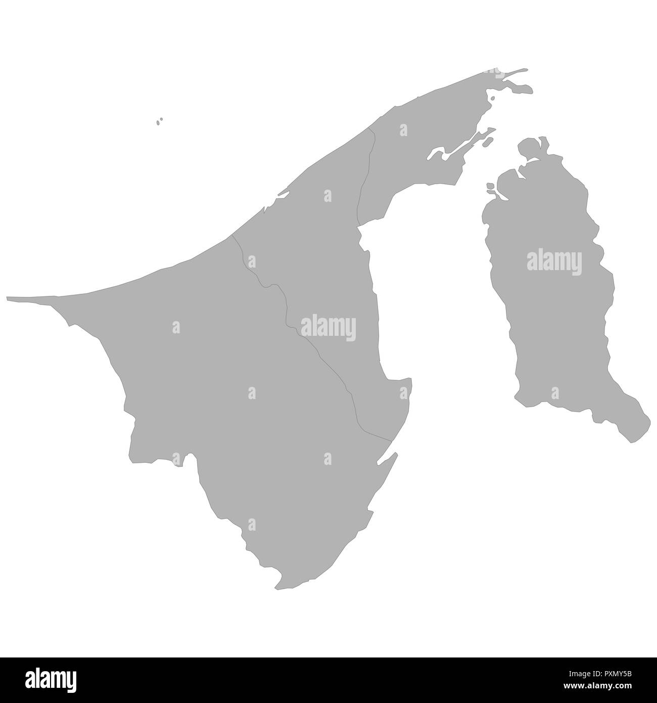 High quality map of Brunei with borders of the regions on white background - Stock Image