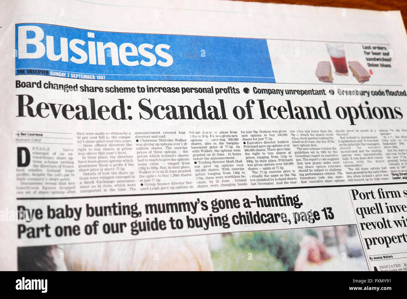 'Revealed: Scandal of Iceland options'  newspaper article in the business section of The Observer  UK September 1997 - Stock Image