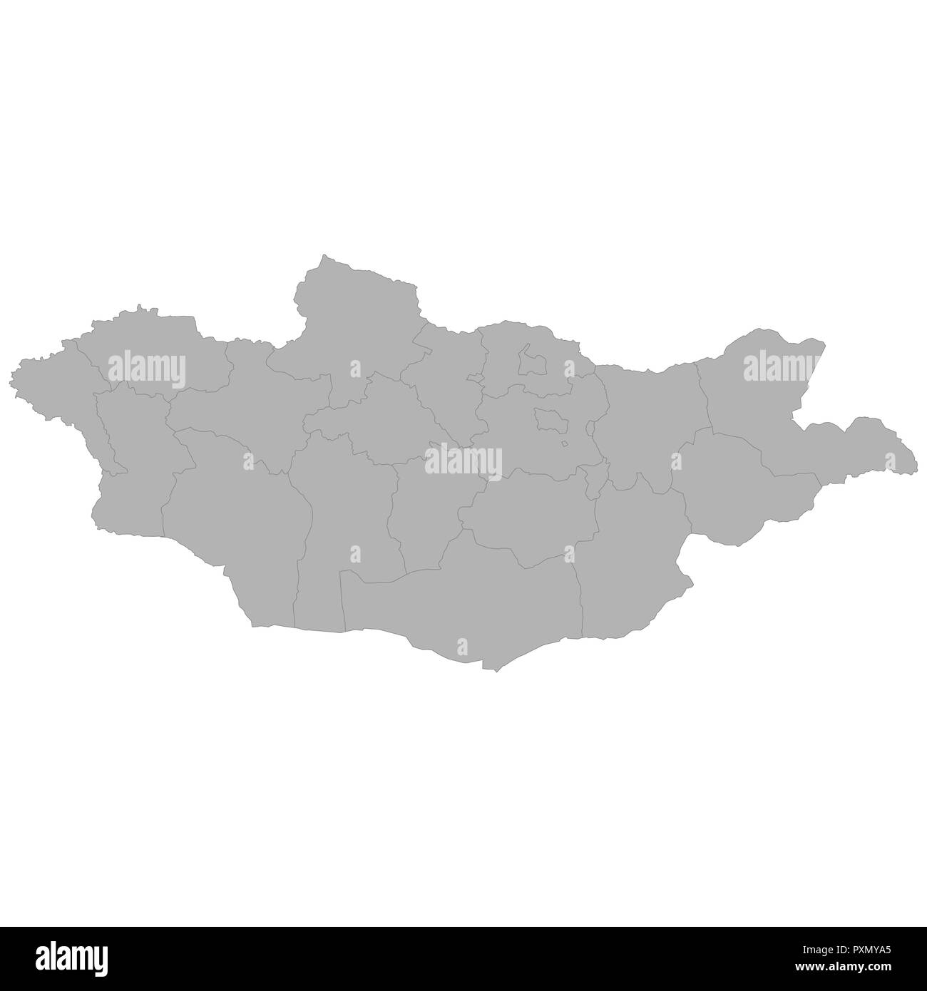High quality map of Mongolia with borders of the regions on white background - Stock Vector