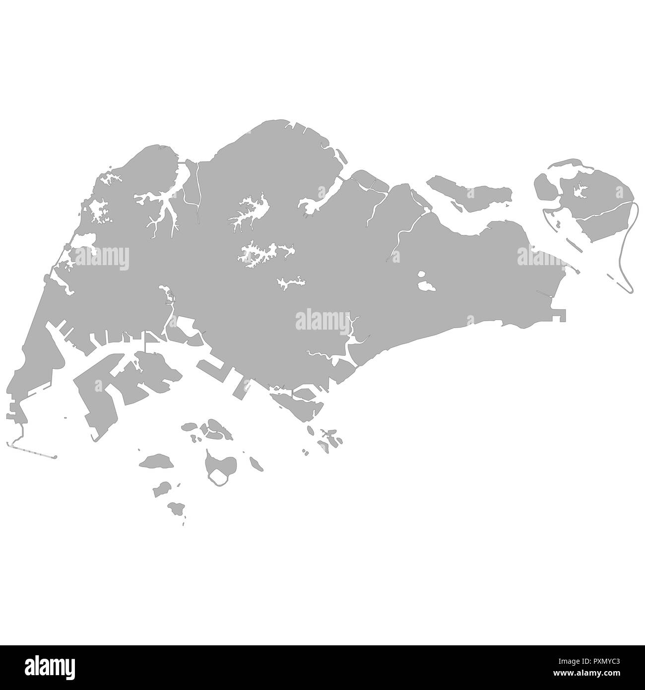 High quality map of Singapore with borders of the regions on white ...
