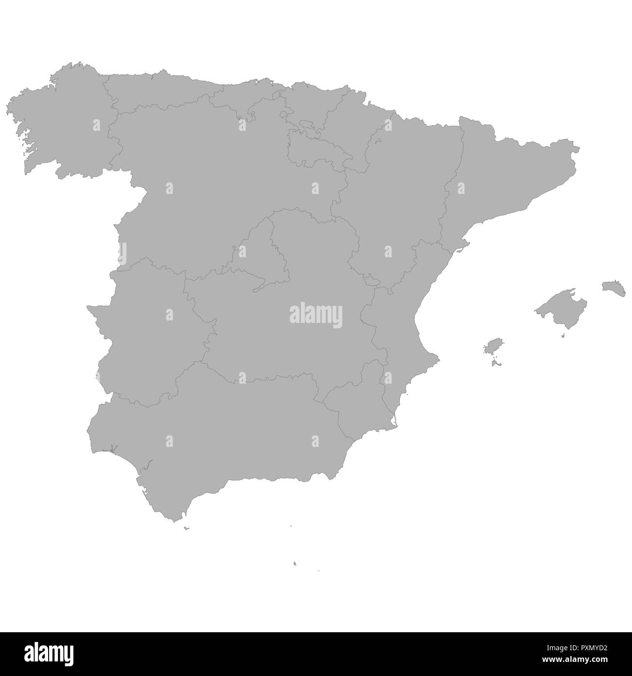 Spain Map Regions Black and White Stock Photos & Images - Alamy