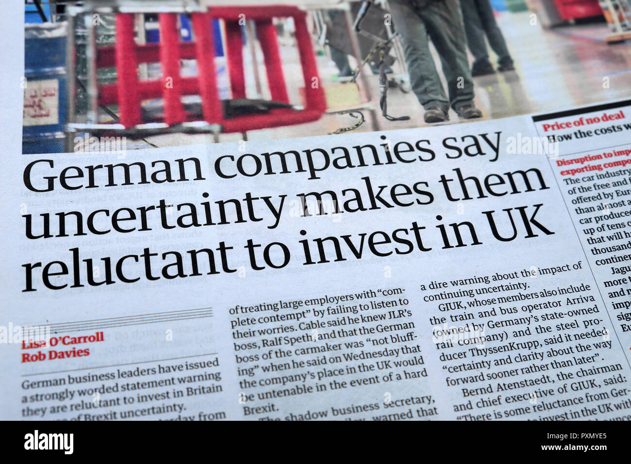 Guardian newspaper article 'German companies say uncertainty makes them reluctant to invest in UK' July 2018 - Stock Image