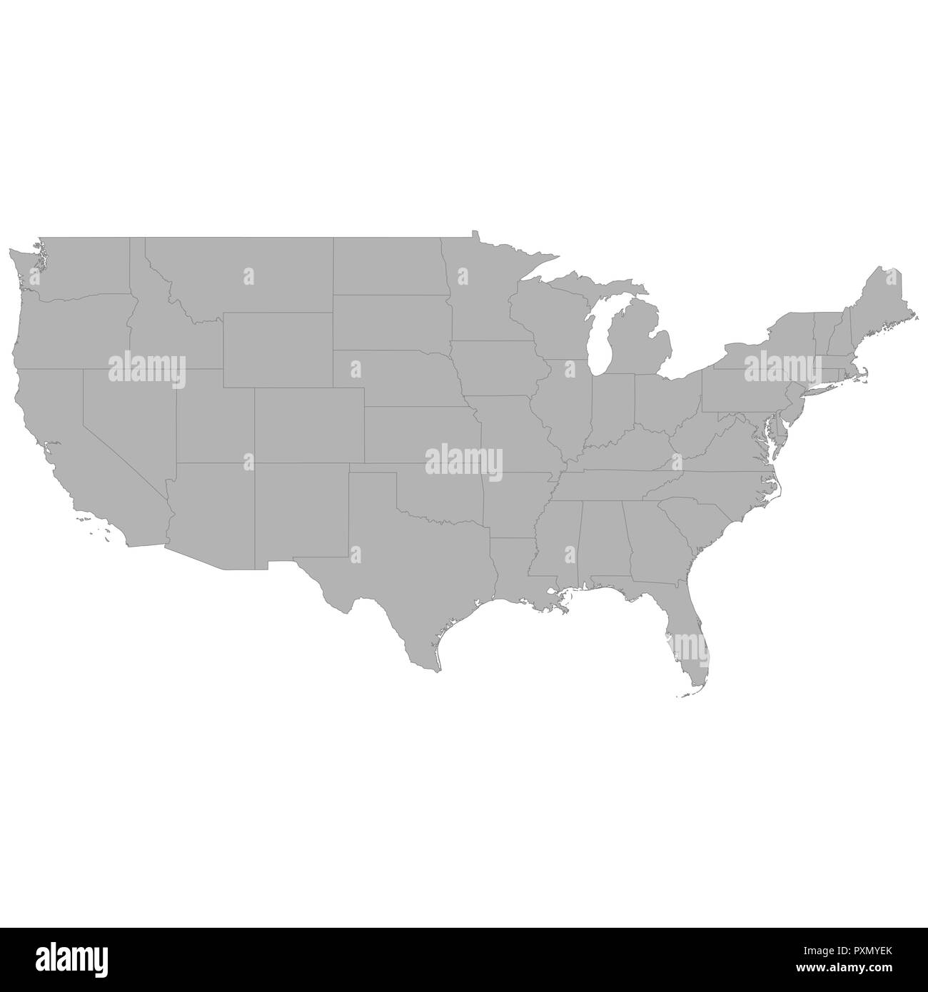 Us Map Borders.High Quality Map Of United States With Borders Of The Regions On