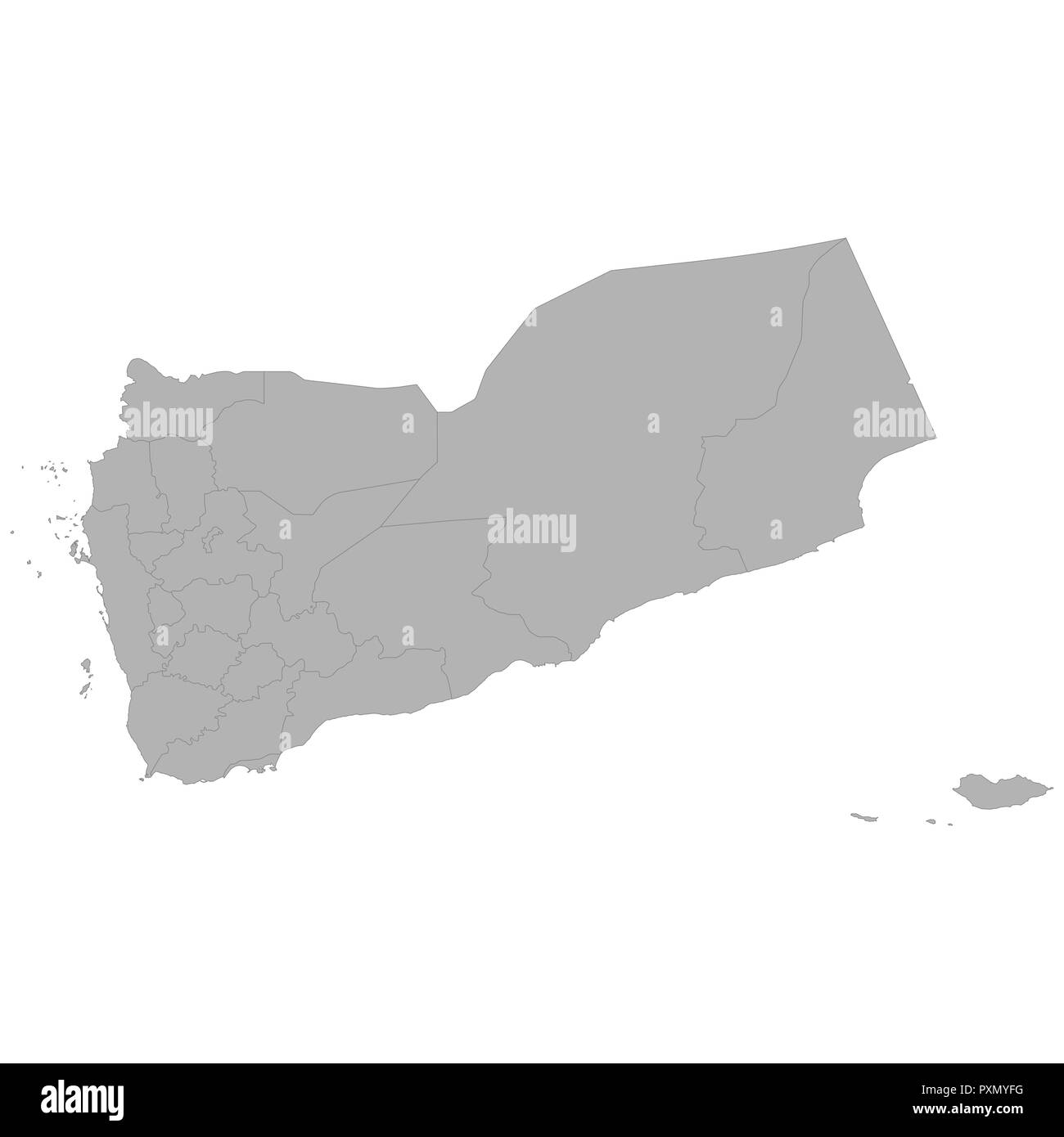 High quality map of Yemen with borders of the regions on white background - Stock Vector