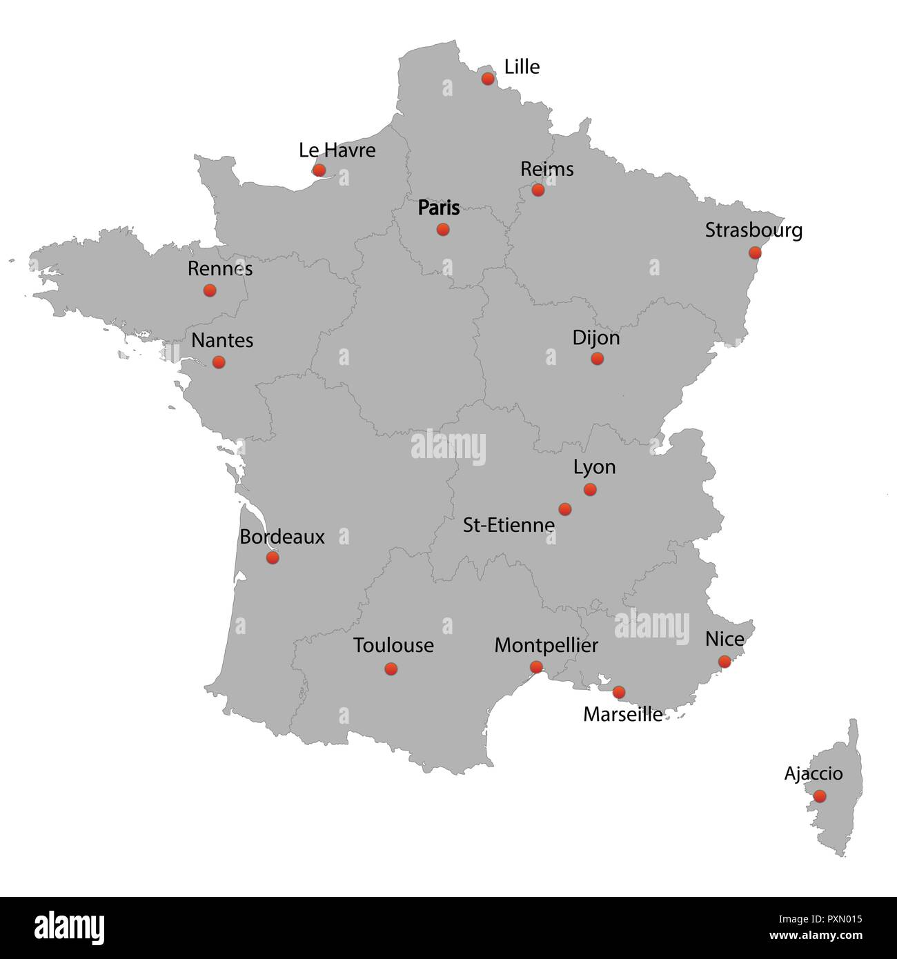 carte france avec villes detailed map of the France with cities Stock Vector Art