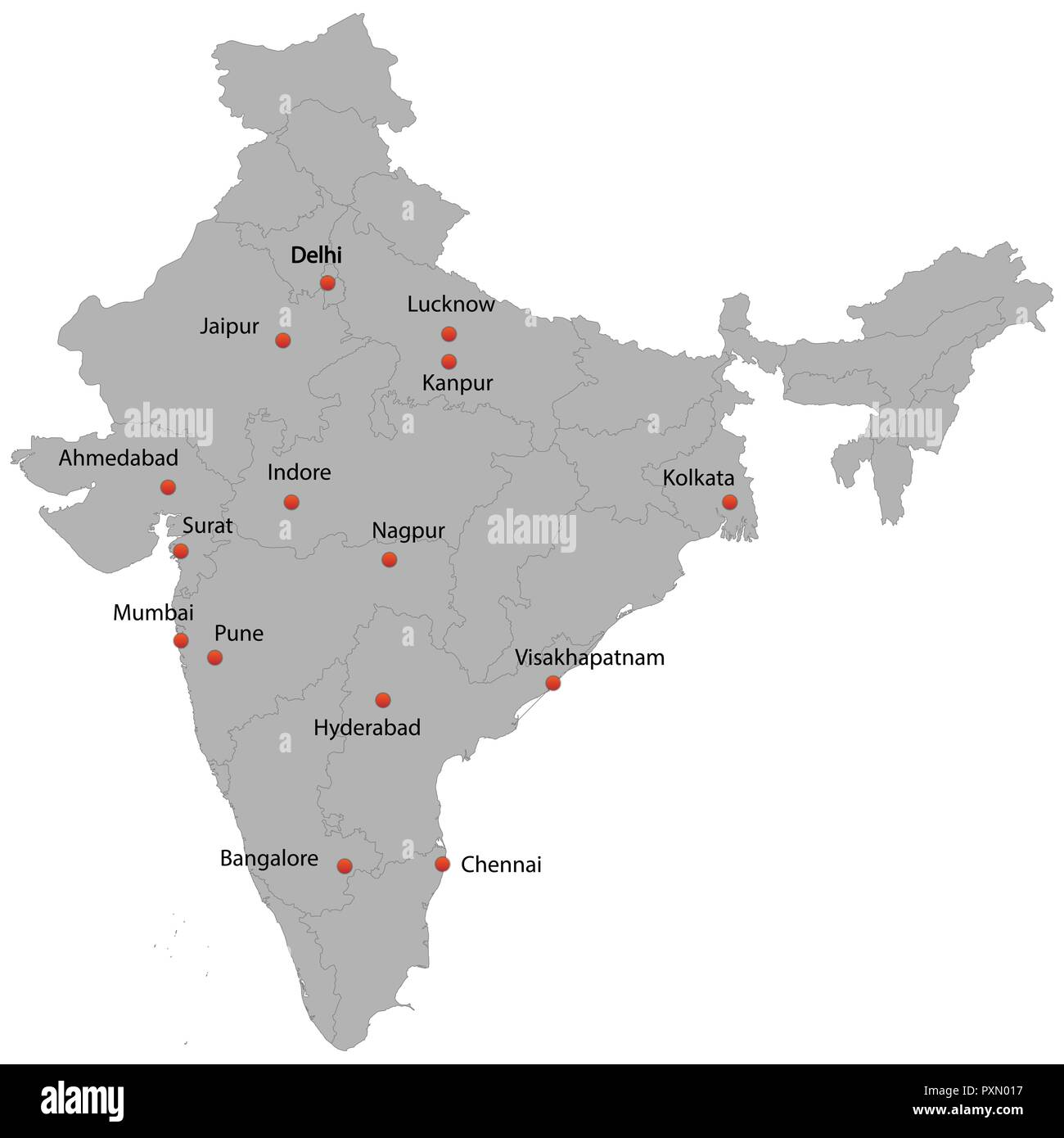 detailed map of the India with cities Stock Vector