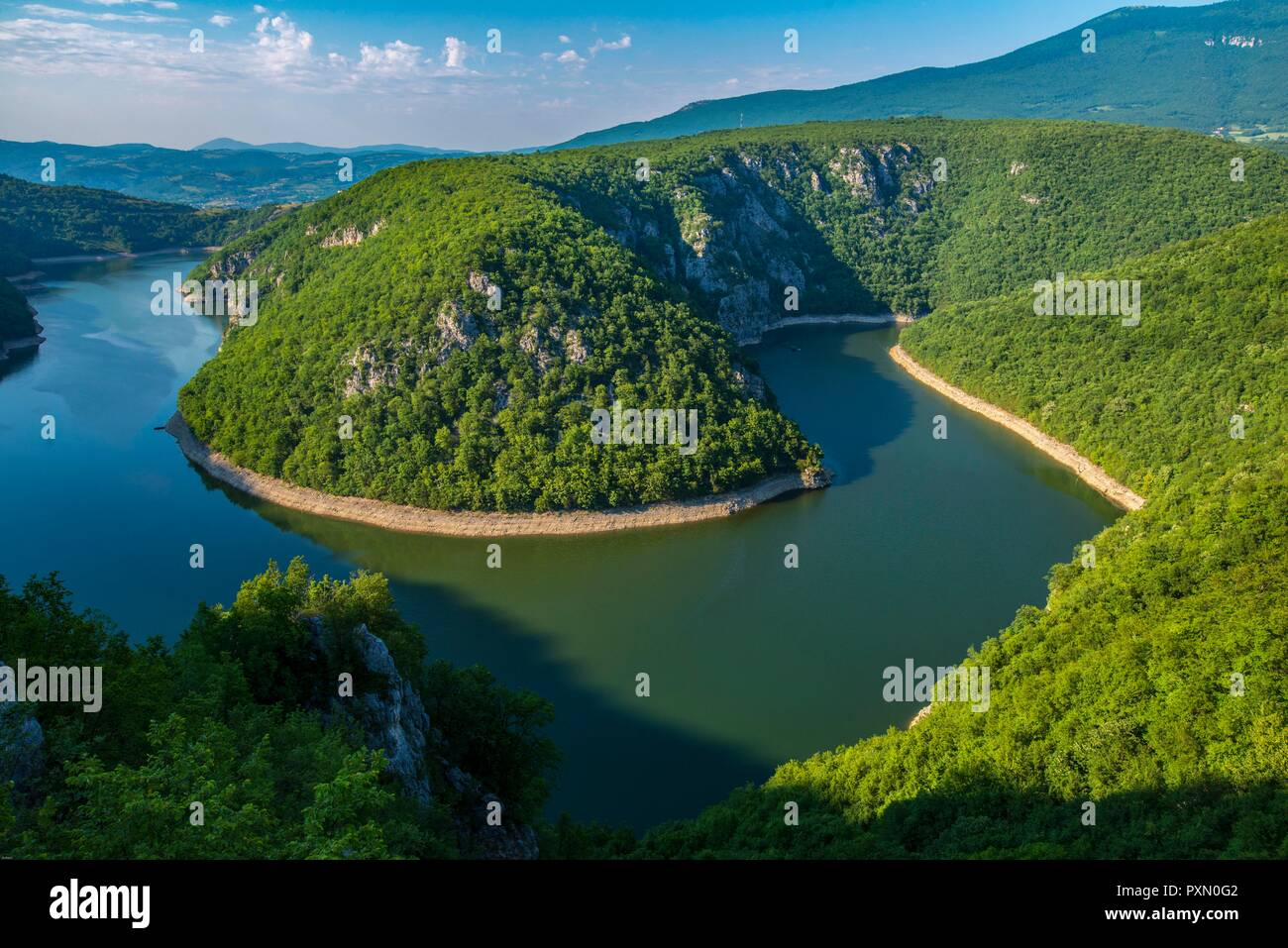 Bosnia-Herzegovina. The bend of the dammed up Vbras River in Republica Srpska belongs to the most beautiful regions - Stock Image