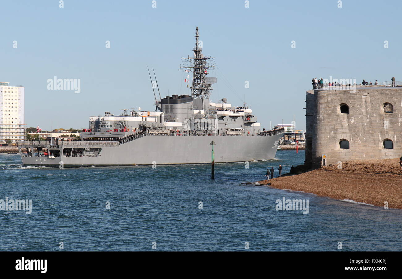 The Japanese training ship Kashima arriving in Portsmouth, UK on 25th August 2018 for a three day goodwill visit to the city - Stock Image