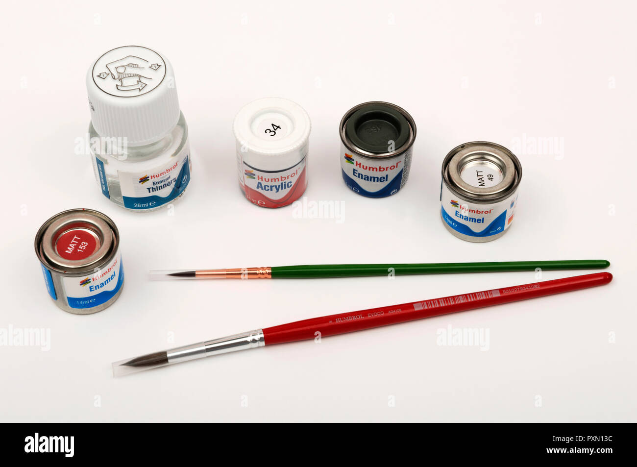 Humbrol modelling paints and brushes - Stock Image
