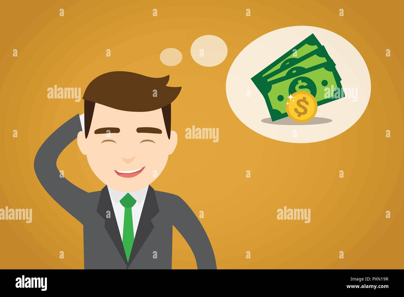 A businessman thinking in money - Stock Image