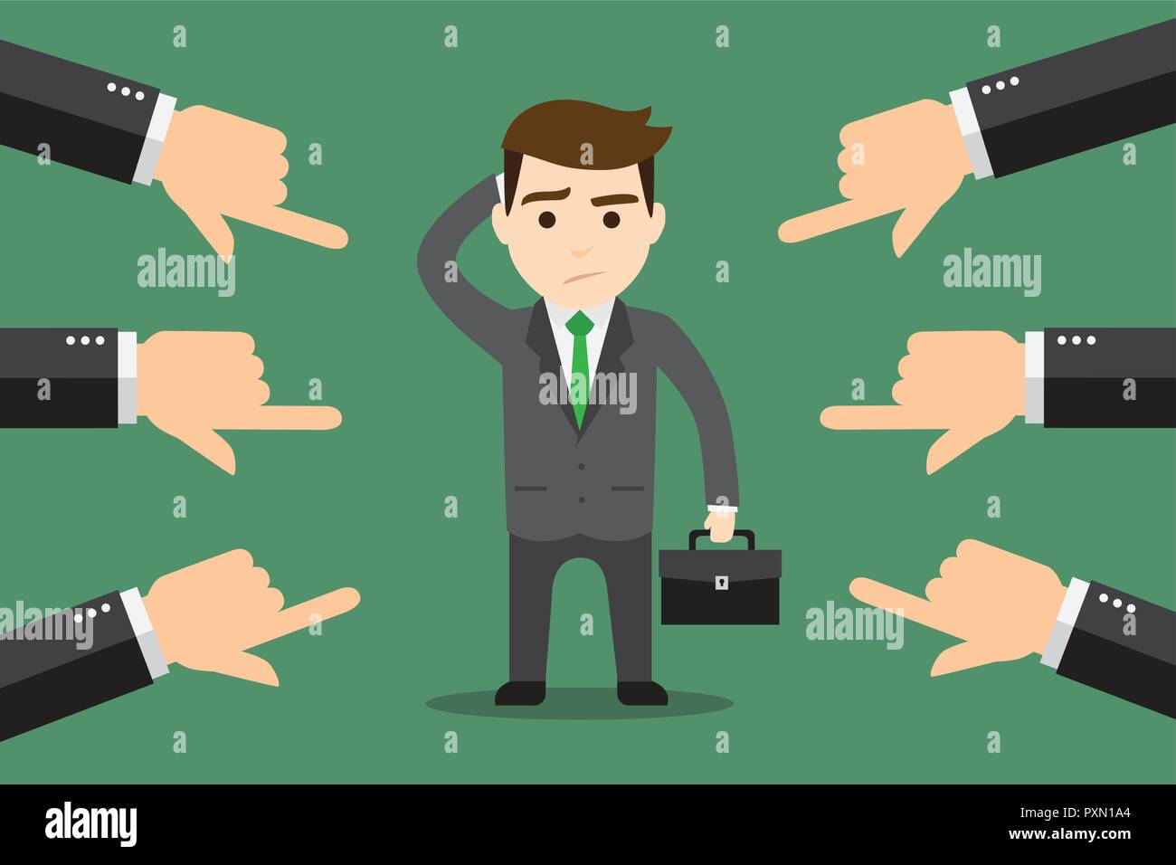 A businessman finger pointer by a lot of people. Concept of accusation. - Stock Image