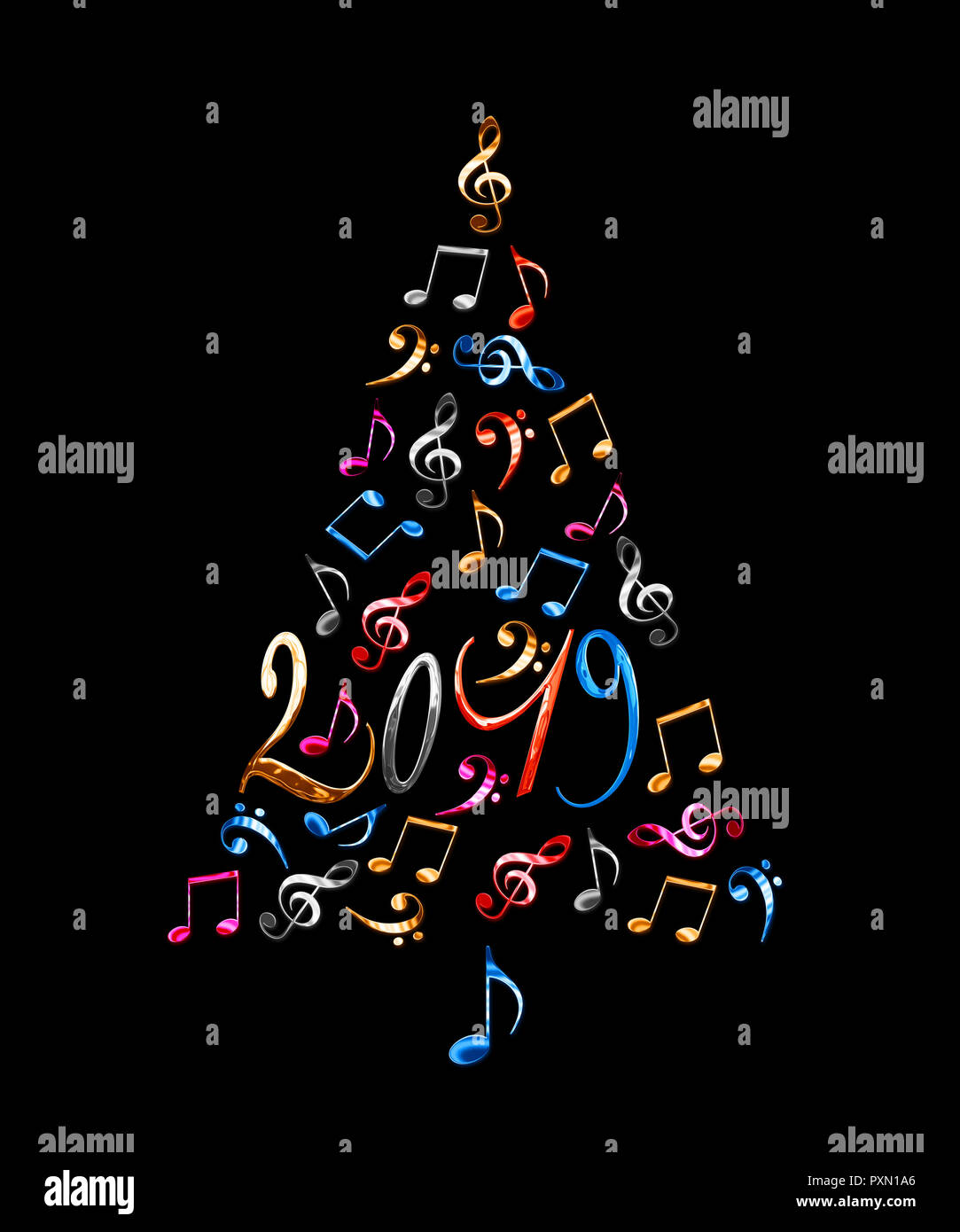Christmas Musicals 2019 2019 christmas tree with colorful metal musical notes isolated on