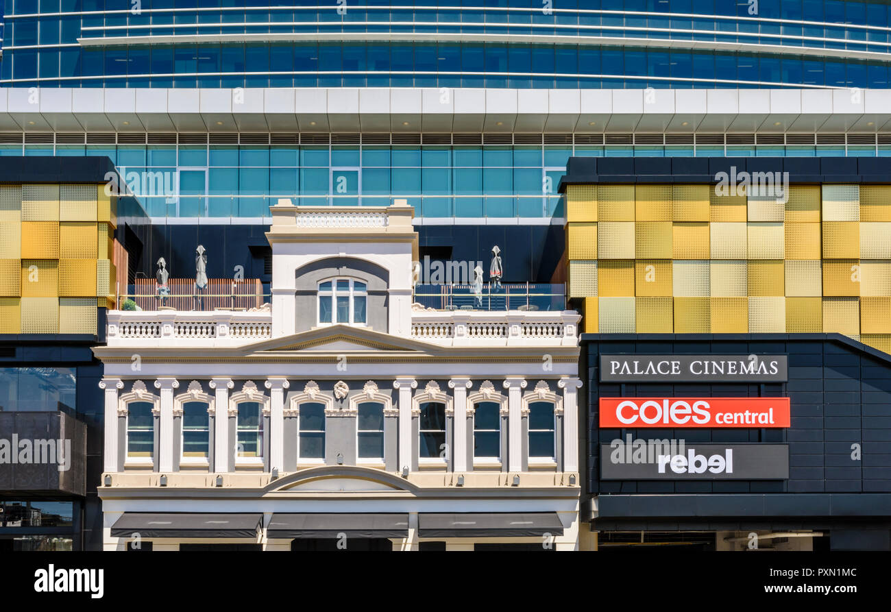 Integrating old and new at the Raine Square redevelopment, including the Palace Cinemas rooftop bar, Perth, Western Australia - Stock Image