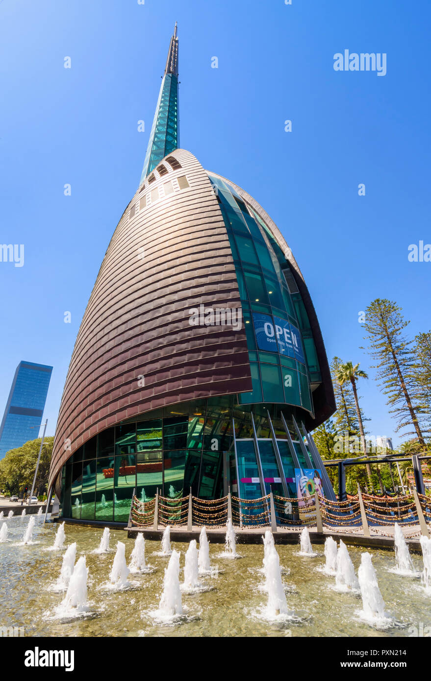 The Swan Bell Tower and forecourt fountains, Barrack Square, Perth, Western Australia - Stock Image