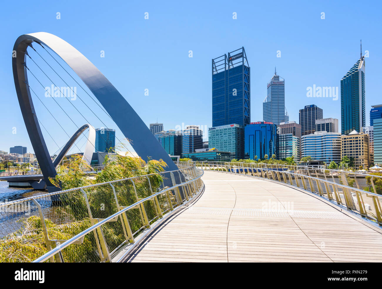 The Elizabeth Quay Bridge, with the Perth CBD behind, Elizabeth Quay, Perth, Western Australia - Stock Image