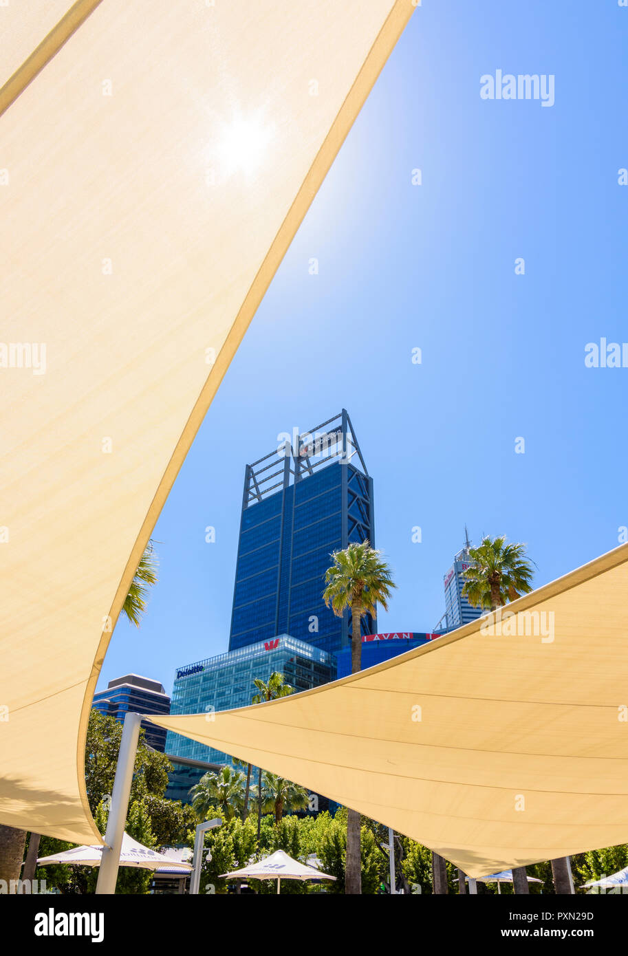 Shade sails above the mini water park at Elizabeth Quay, Perth, Western Australia - Stock Image