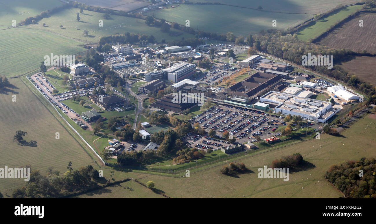 aerial view of Hanslope Park which includes the Foreign and Commonwealth Office, near Milton Keynes, UK - Stock Image