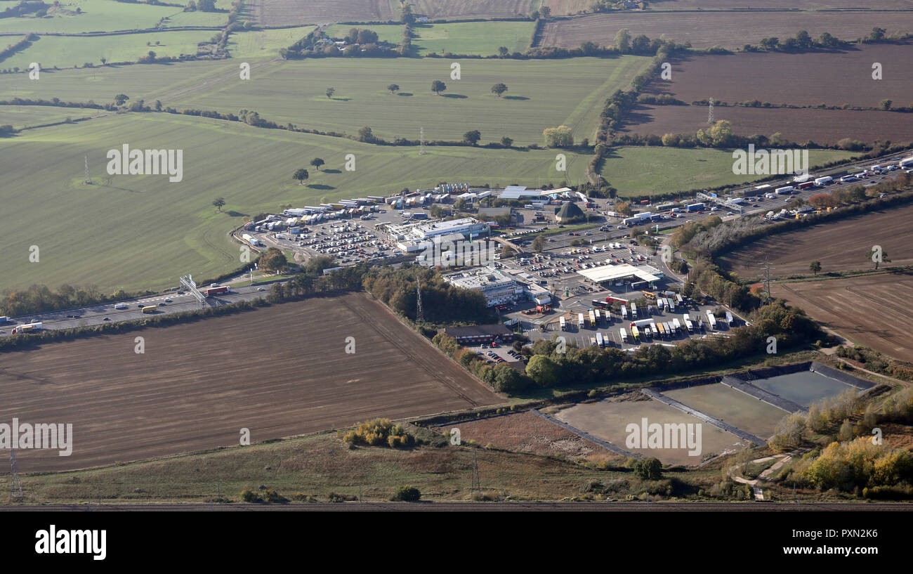 aerial view of Toddington Services, North & South, M1 Motorway - Stock Image