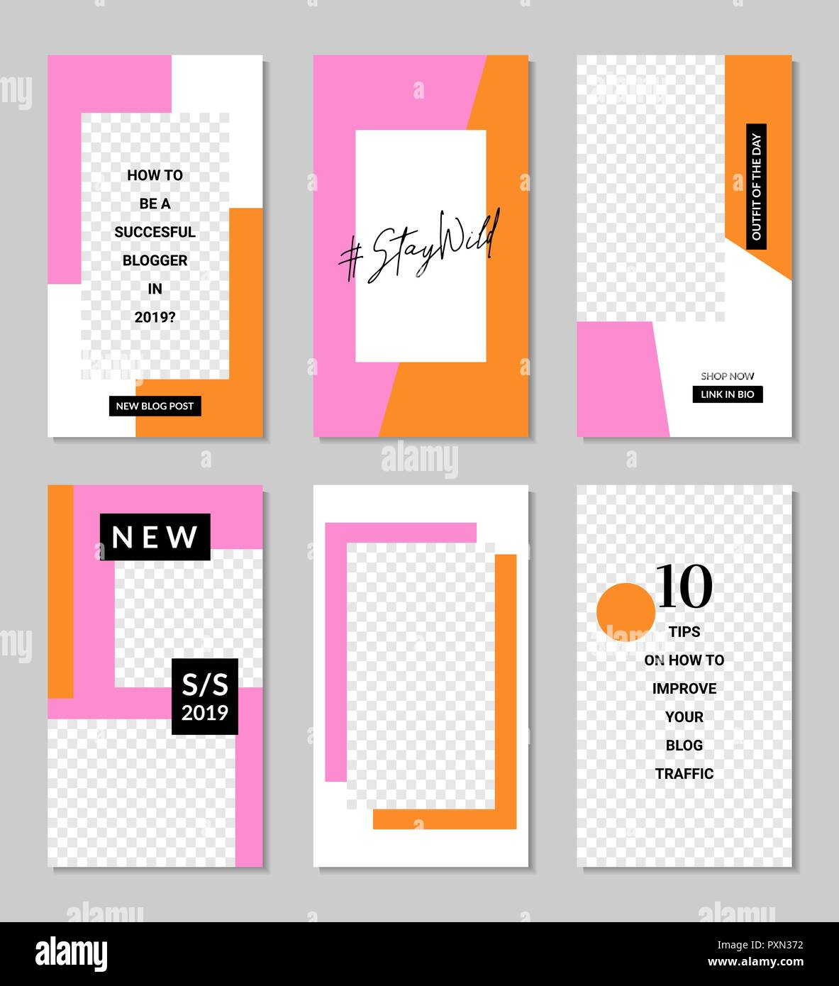 A Set Of Six Editable Vertical Templates For Social Media Posts In