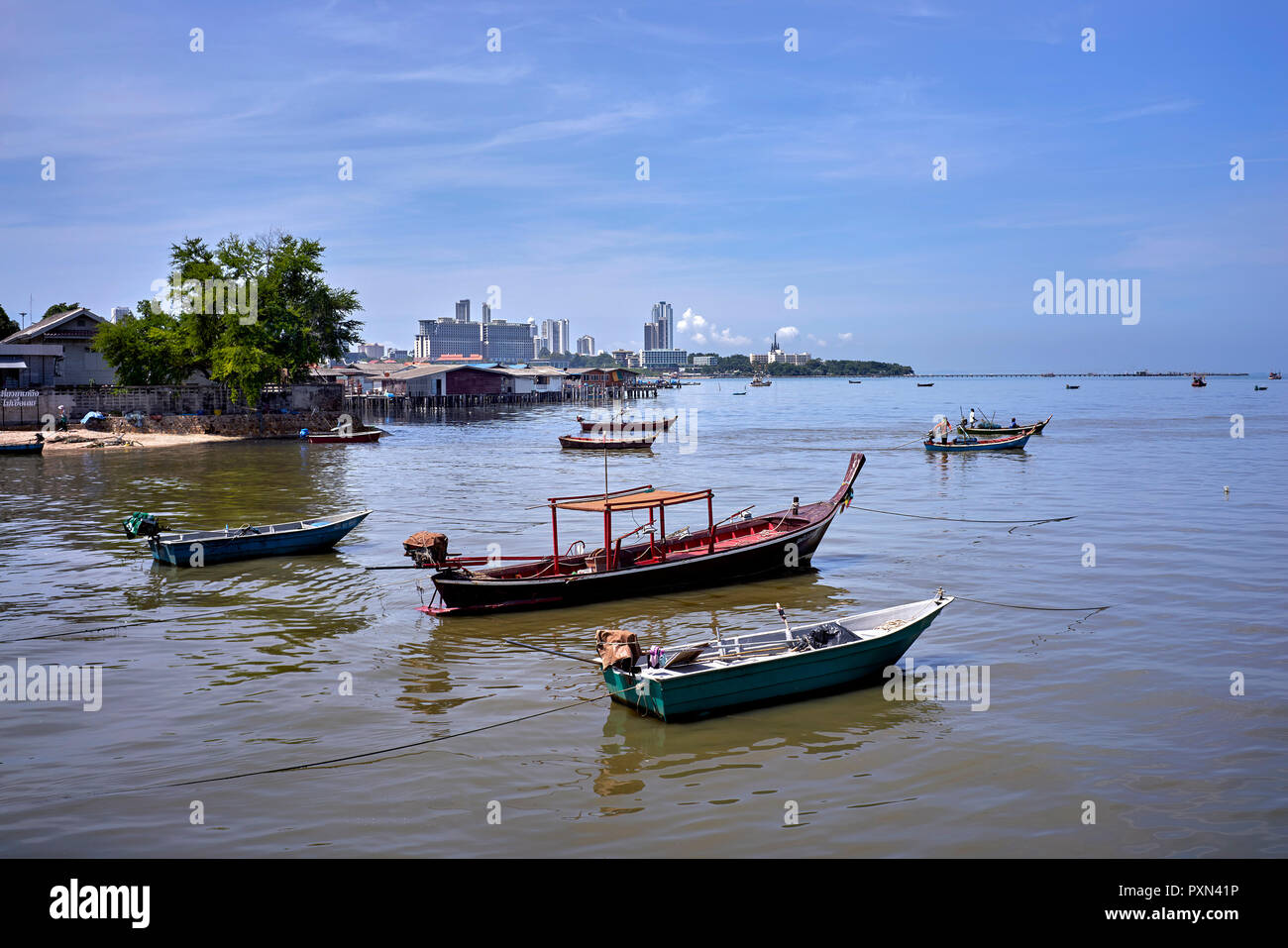 Thailand Fishing boats tied up and moored. Pattaya Southeast Asia - Stock Image