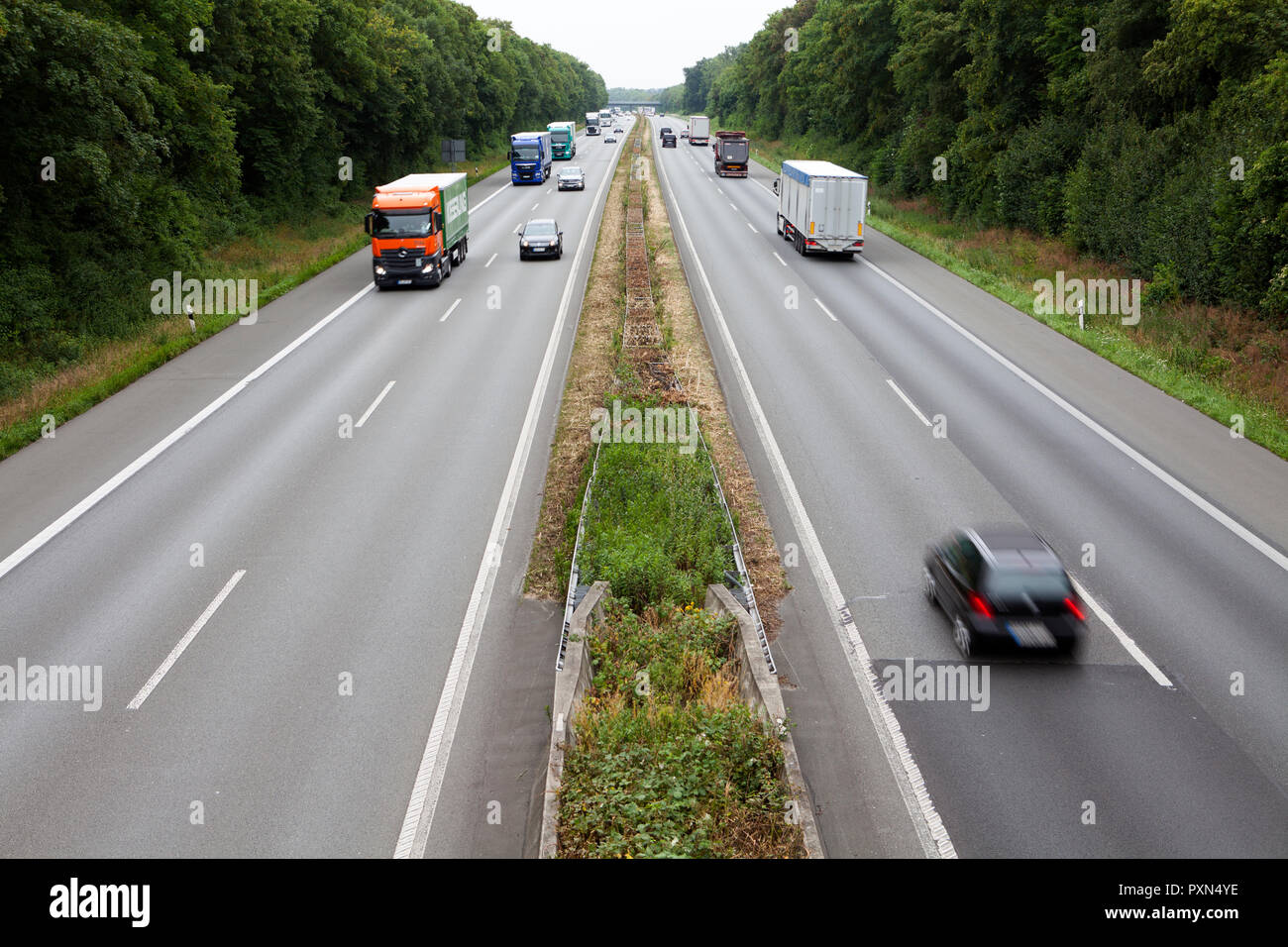 Highway 1 near Ascheberg, Münsterland, North Rhine-Westphalia, Germany, Europe - Stock Image