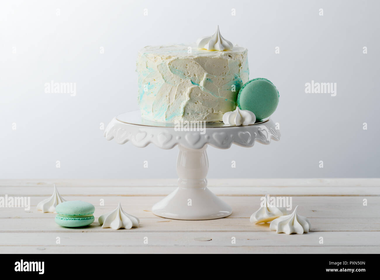 Minimalist Cake Macaroni And Meringues Stock Photo Alamy