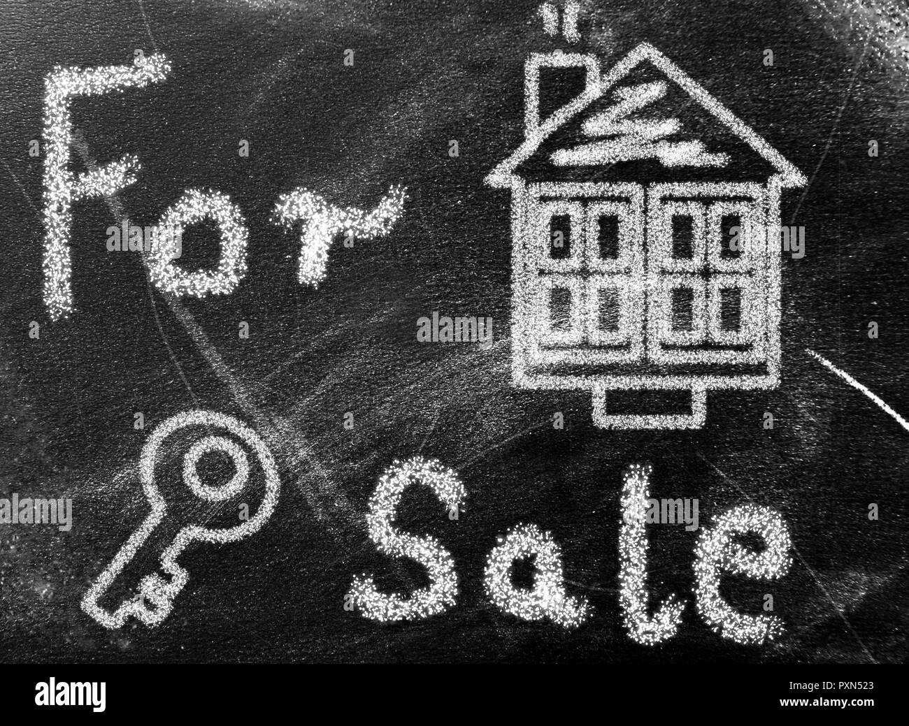 House painted on chalkboard - Stock Image