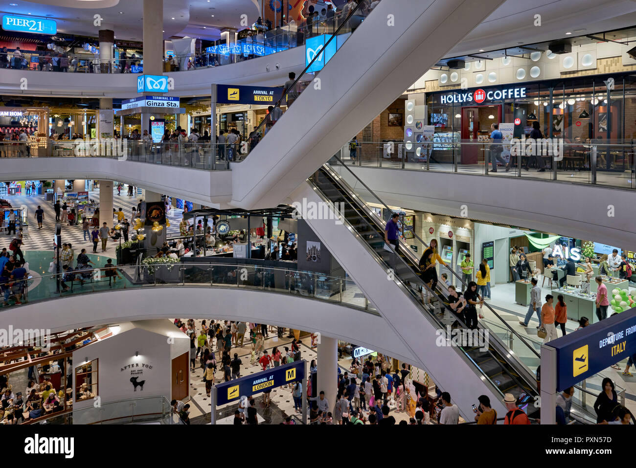 Thailand shopping mall. Terminal 21 interior, Pattaya. , Southeast Asia - Stock Image