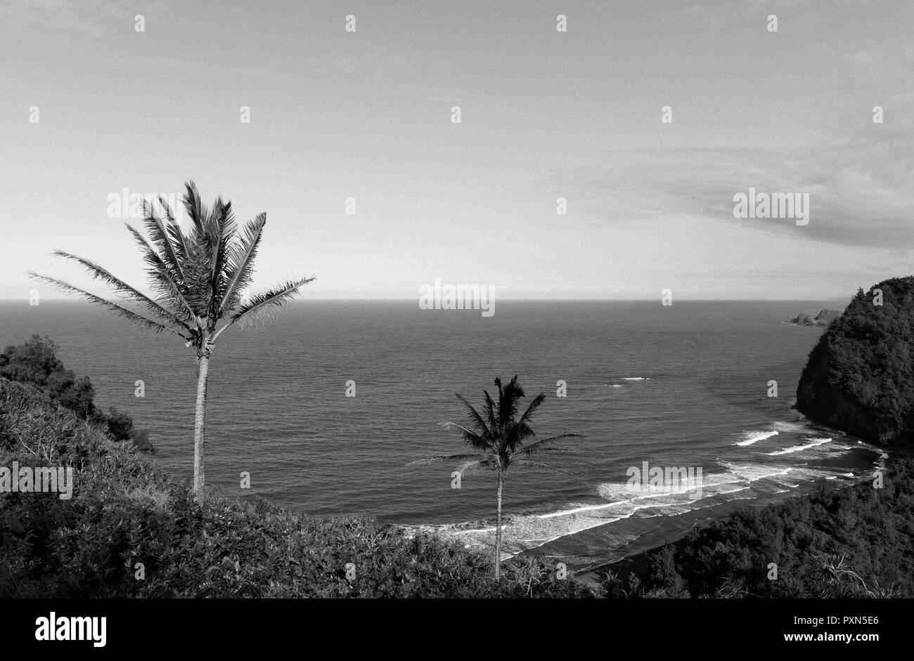 Coastline, Pololu Valley Lookout, Big Island, Hawaii, United States of America USA Stock Photo