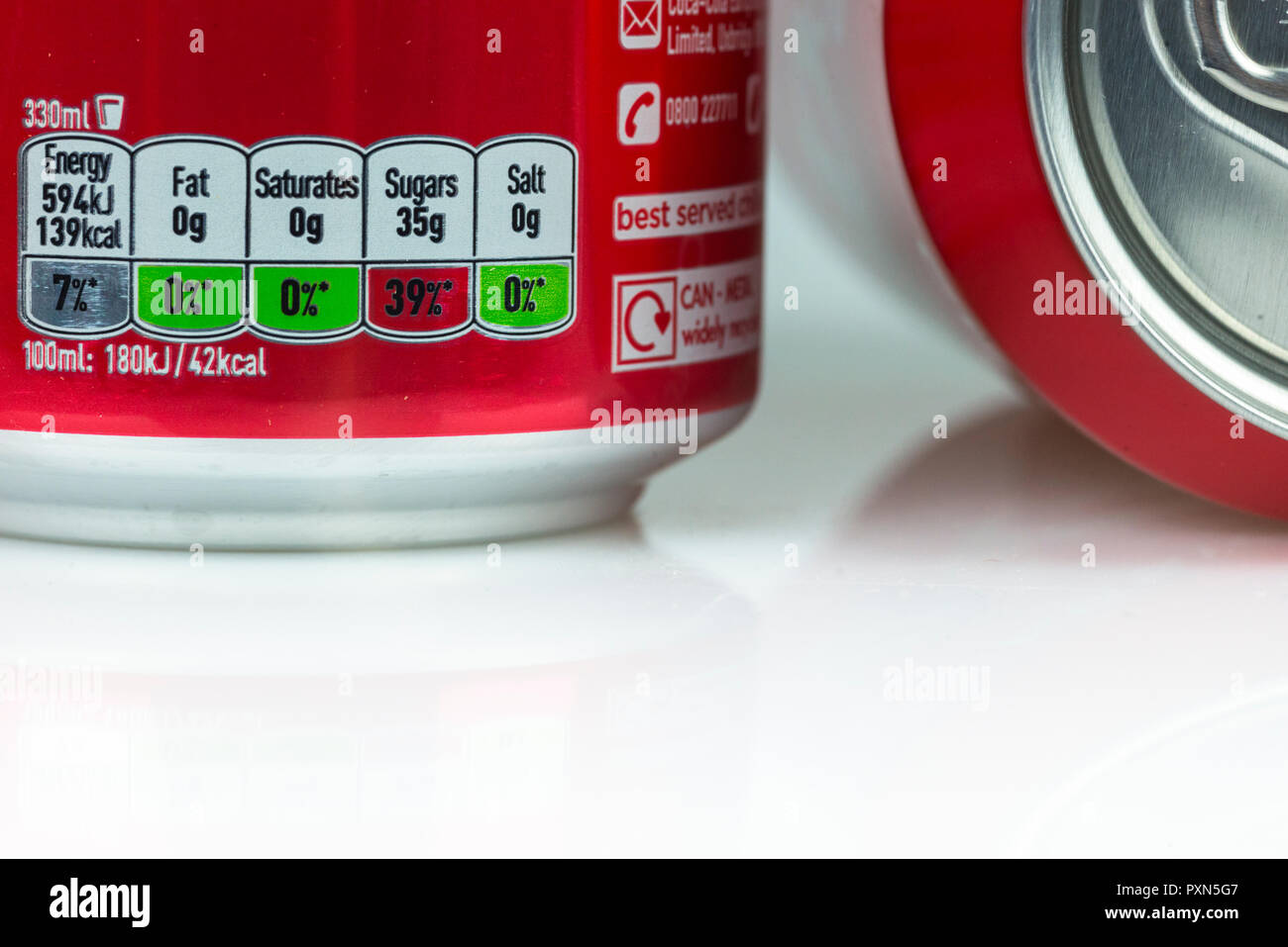 Classic Coke Food label decoder shows high sugar level and is impacted by the new Sugar tax introduced in the UK. - Stock Image