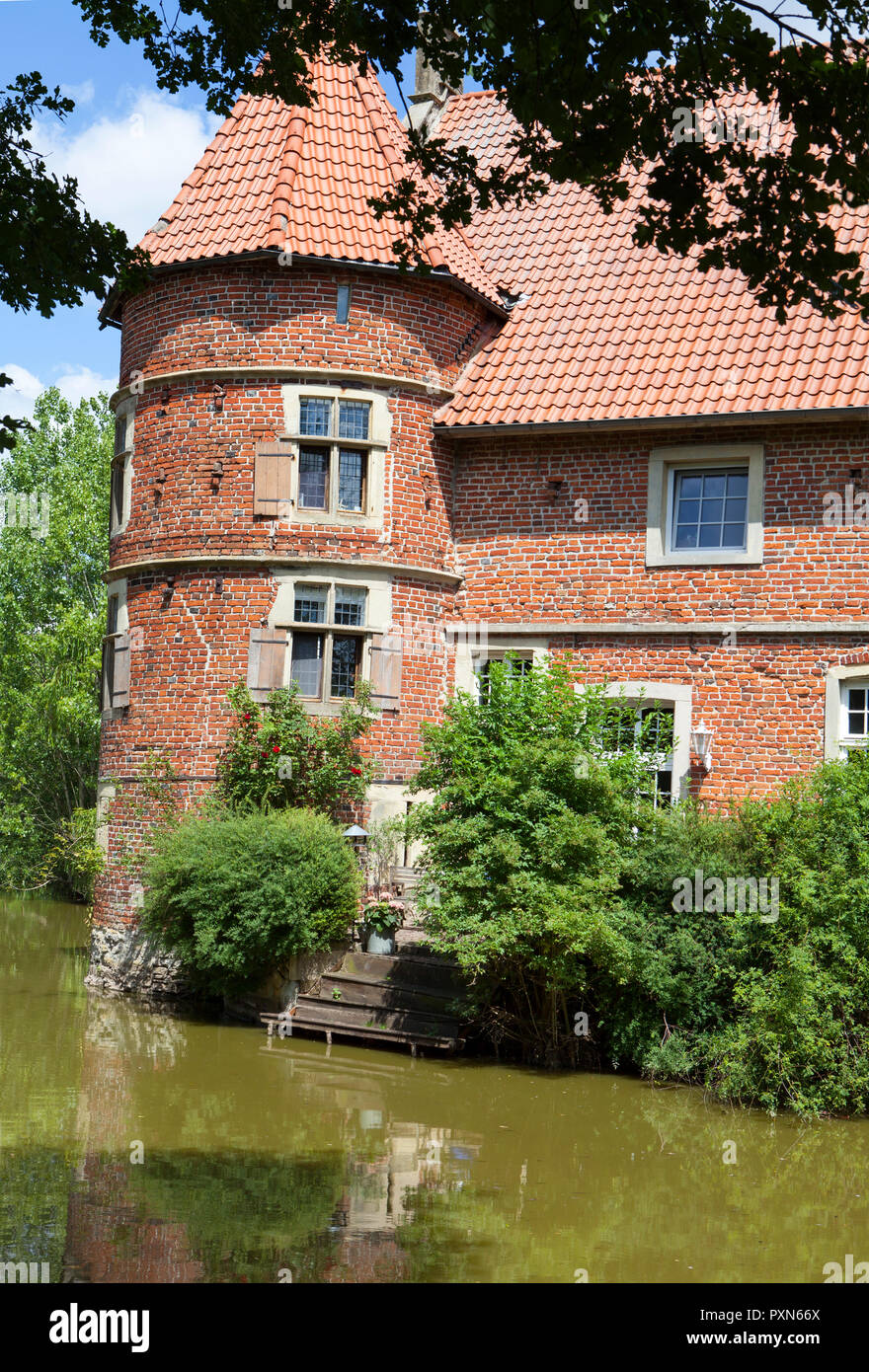 Vögeding, moated castle, North Rhine-Westphalia, Münster-Nienberge, Germany; Europe - Stock Image