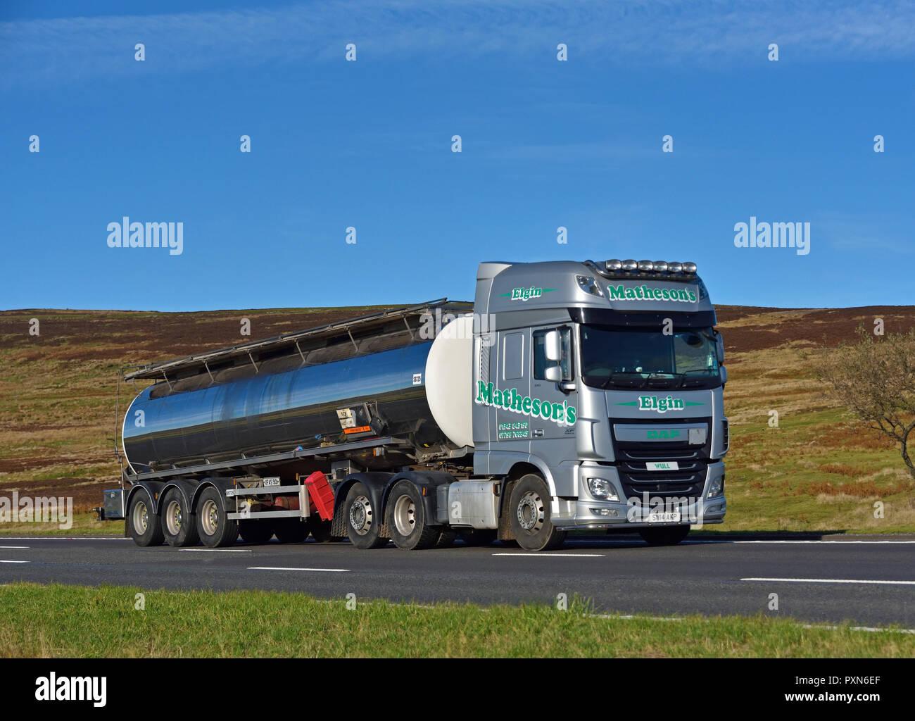 Matheson's Limited Bulk Haulage Tanker. M6 motorway Southbound carriageway, Shap, Cumbria, England, United Kingdom, Europe. - Stock Image