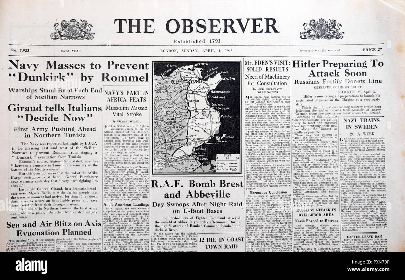 'Navy Masses to Prevent Dunkirk by Rommel' & 'Hitler Preparing to Attack Soon' front page of  The Observer newspaper April 4 1943 Second World War UK - Stock Image