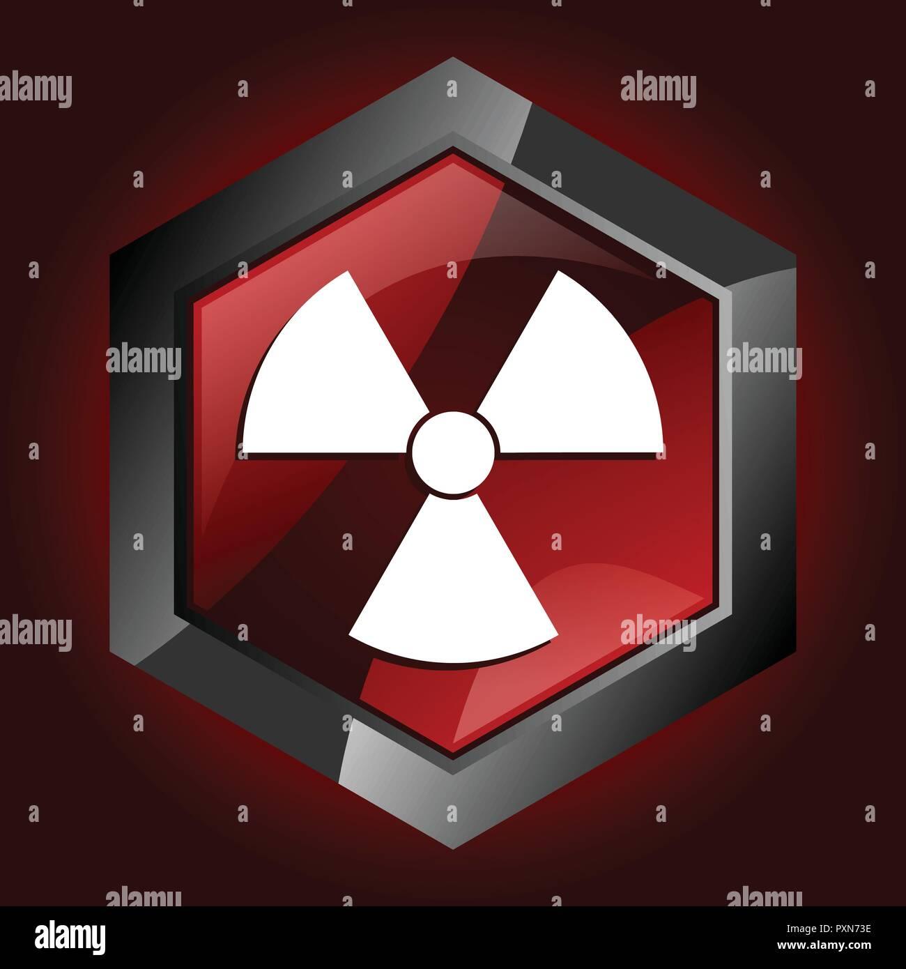 nuclear power radioactive radiation atom atomic hexagon dark red vector icon - Stock Vector