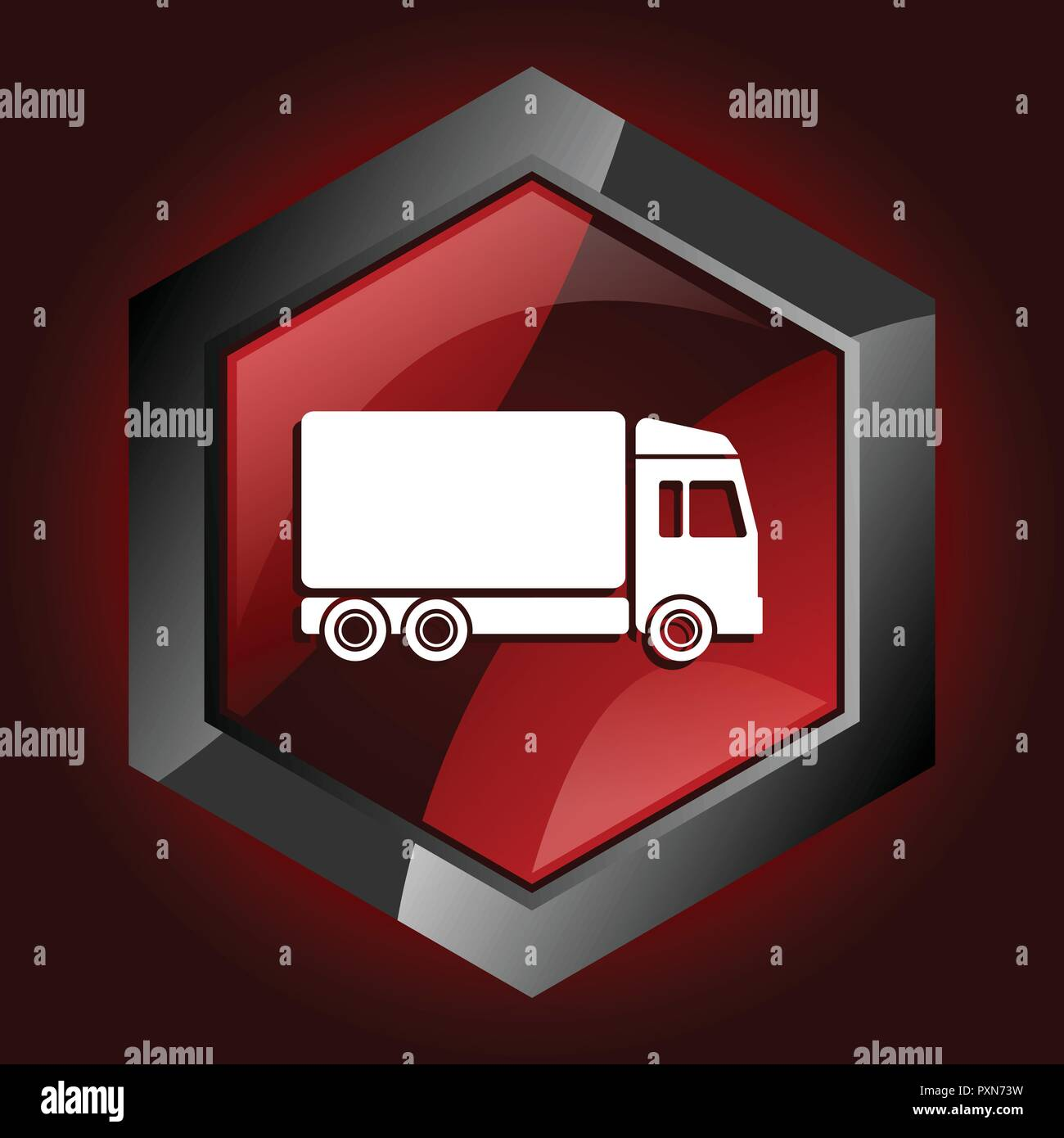 delivery transport vehicle truck transportation cargo hexagon dark red vector icon - Stock Image