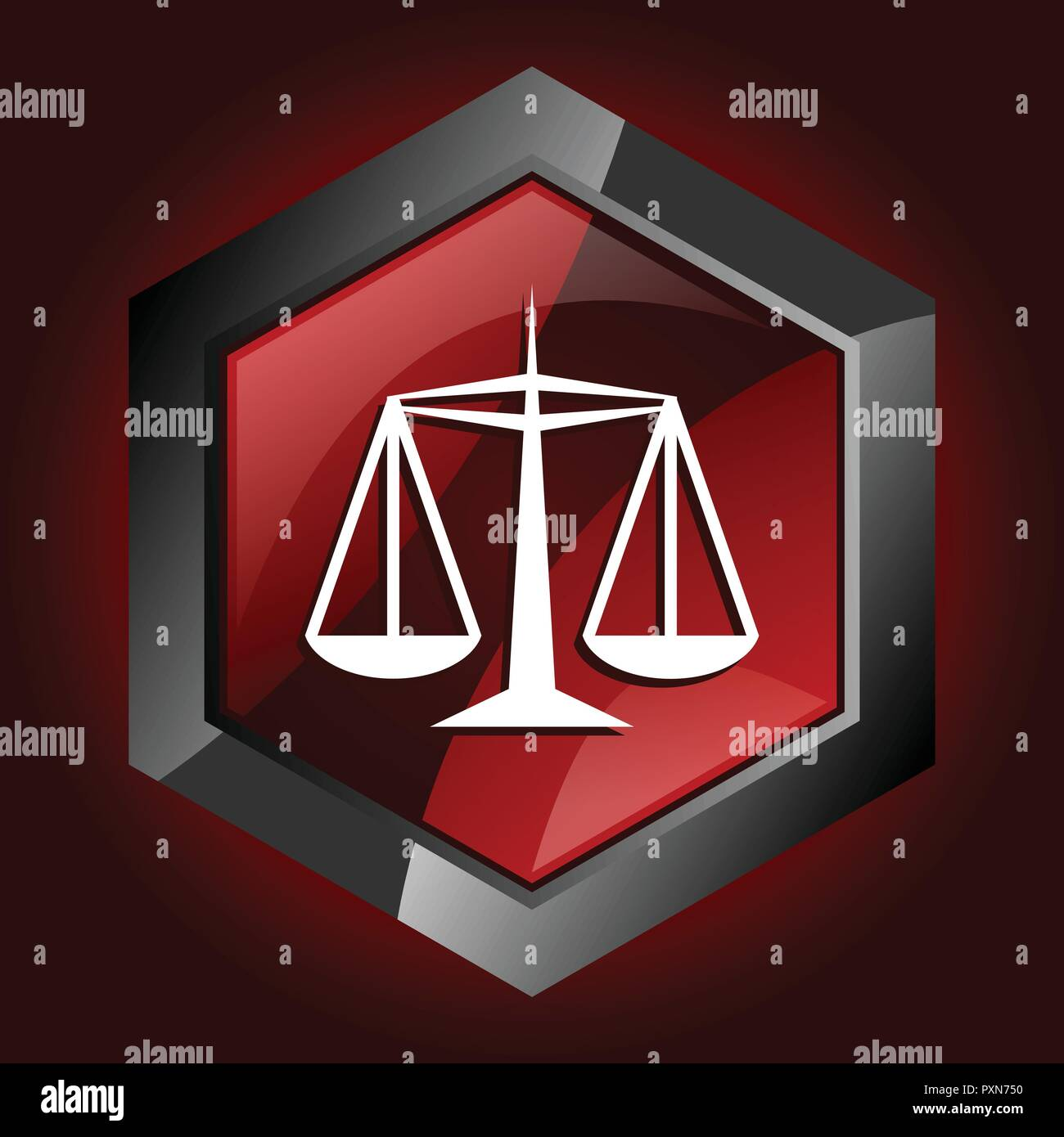 justice law legal court equality scale hexagon dark red vector icon - Stock Vector