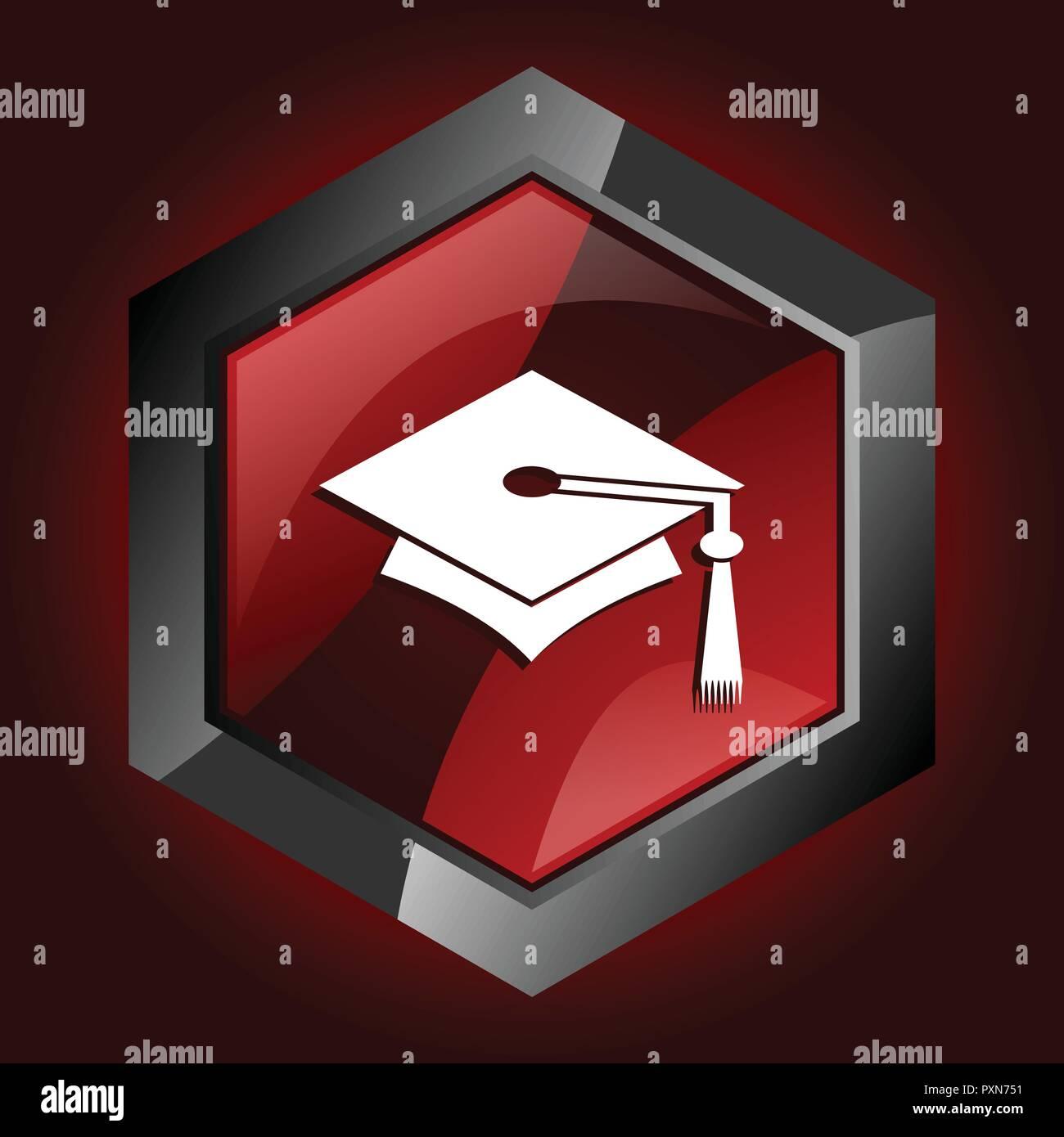 education graduation university degree graduate hexagon dark red vector icon - Stock Image